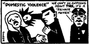 Cartoon depicting police domestic violence
